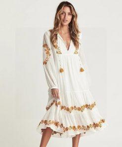 Langes weißes Hippie Kleid