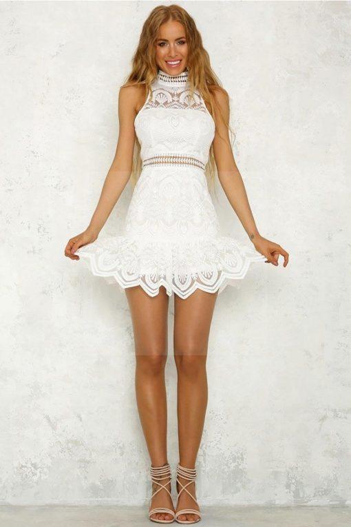 Weißes Hippie Kleid böhmischer Schick